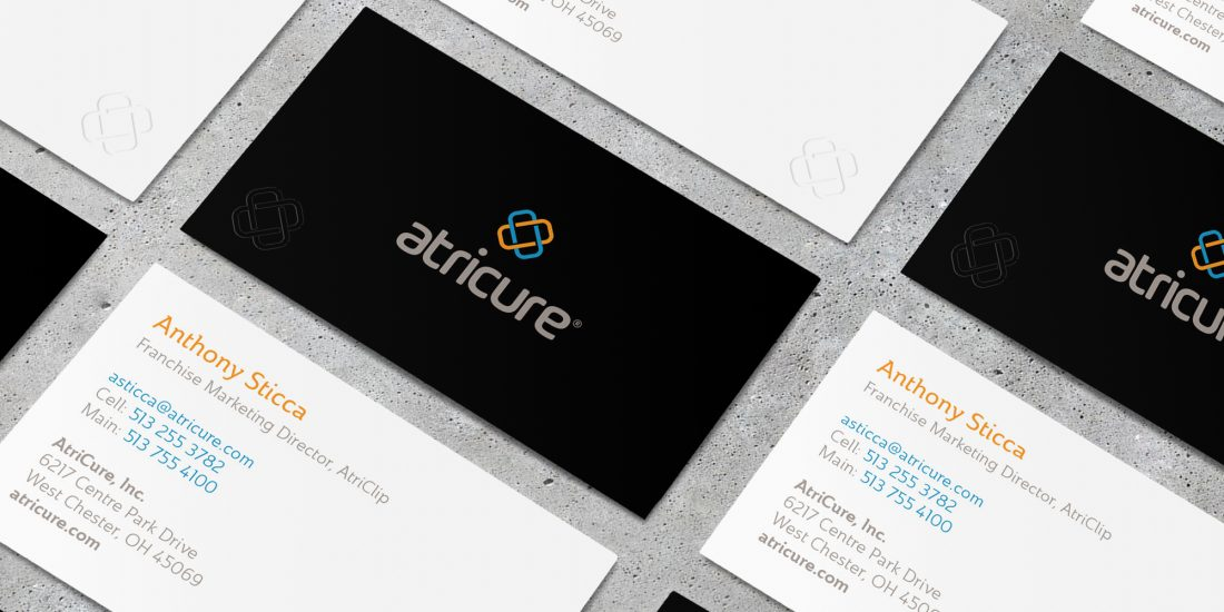 marketing agency atricure business card design